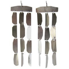 Heidi Abrahamson Long Brushed Sterling Silver Kinetic Earrings