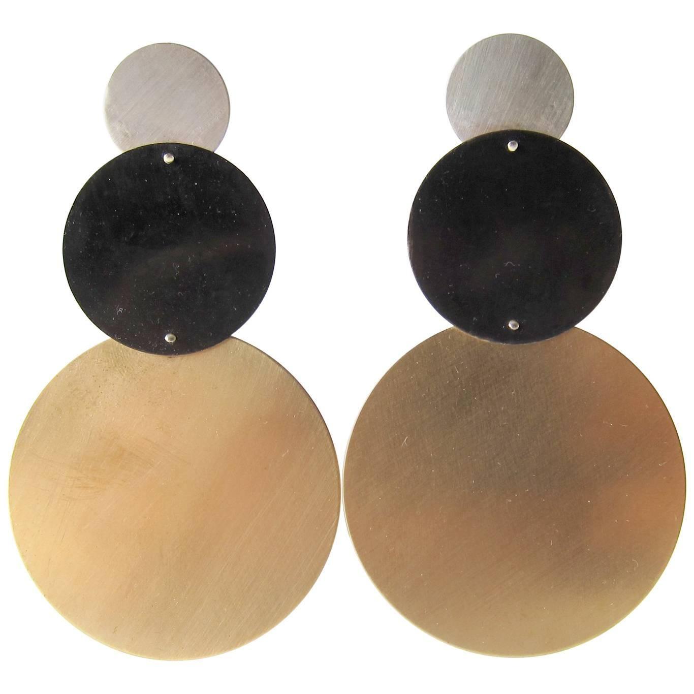 Heidi Abrahamson Sterling Silver Geometric Modernist Brass Earrings