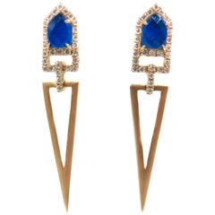 Lapis Lazuli and Diamond Geometric Gold Earrings