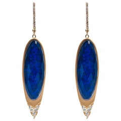 Lapiz Lazuli and Diamond Gold Earrings