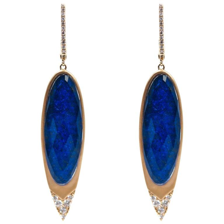 Lapiz Lazuli and Diamond Gold Earrings
