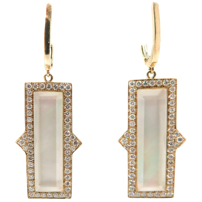 Mother-of-Pearl, Quartz and Diamond Yellow Gold Drop Earrings