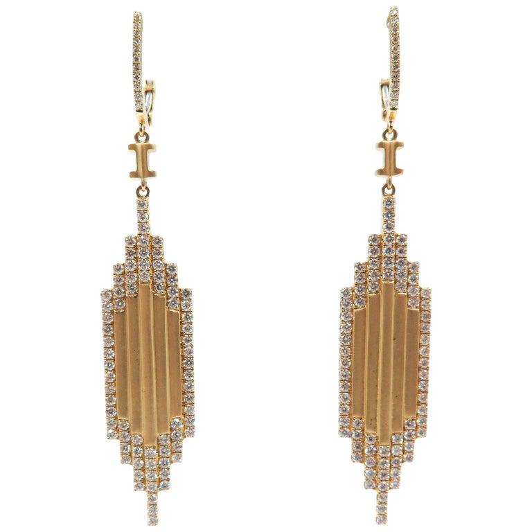 Diamond Yellow Gold Drop Earrings