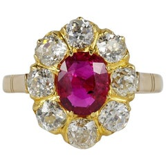 Authentic Victorian Natural Untreated Ruby 2.0 Carat Diamond Rare Ring