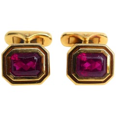 Fine Rubelite 18K Rose Gold Cufflinks