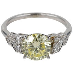 French Certified 2.0 Carat Plus Natural Fancy Yellow Platinum Ring