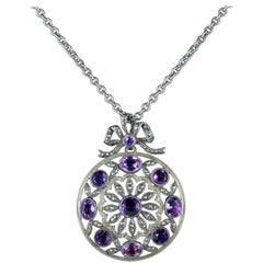 Antique Victorian Amethyst Marcasite Necklace French Silver, circa 1900