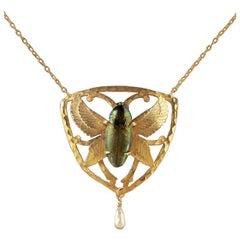 Antique Victorian Scarab Beetle Necklace 18 Carat Gold Silver, circa 1900