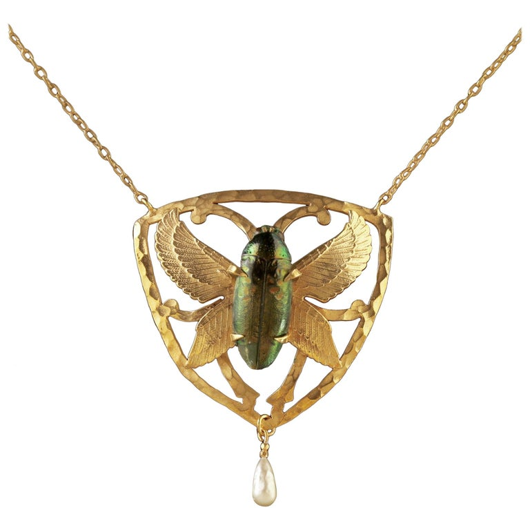 Antique Victorian Scarab Beetle Necklace 18 Carat Gold Silver, circa 1900