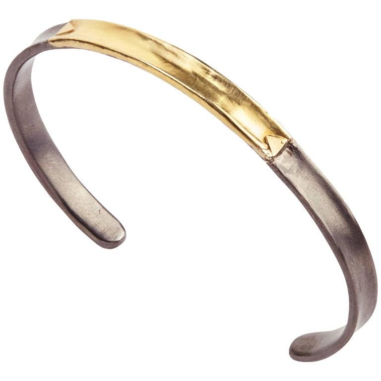 14 Karat Gold Oxidized Sterling Silver Bangle Bracelet