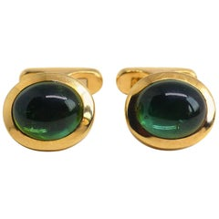 Fine Green Tourmaline 18 Karat Rose Gold Cufflinks