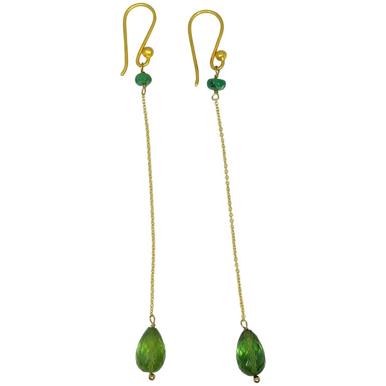 Emerald, Green Tourmaline Briolette Cu, 14K Gold Dangle Earrings For Sale