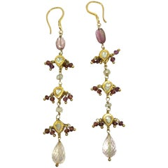 Diamonds, Sapphire and Pink Tourmaline Briolette Cut 18K Gold Dangle Earrings