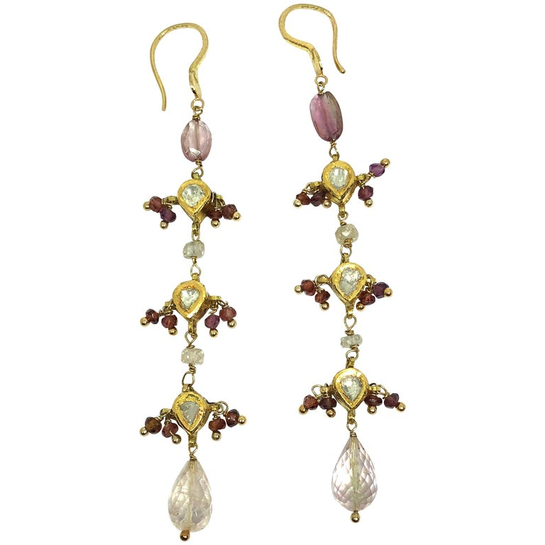 Diamonds Sapphire Pink Tourmaline Briolette Cut 18 Karat Gold Dangle Earrings