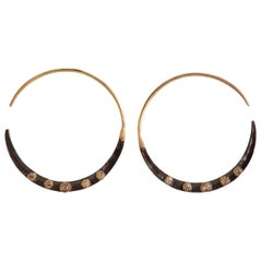 Diamonds 14K Gold Oxidized Sterling Silver Hoop Earrings