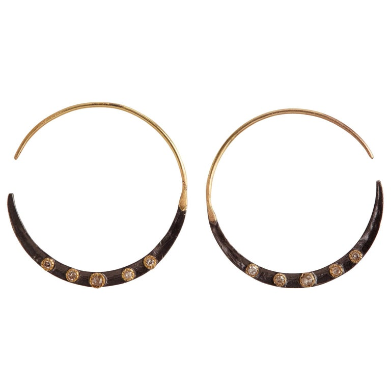 Diamonds 14K Gold Oxidized Sterling Silver Hoop Earrings For Sale