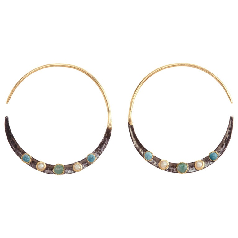 Emerald, Turquoises, Pearls, 14K Gold Oxidized Serling Silver Hoop Earrings For Sale