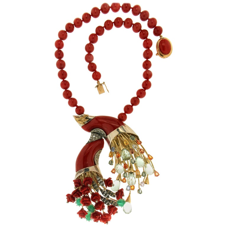Coral Gold Diamonds Fashion Necklace