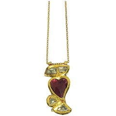 Diamonds and Ruby 22K Gold Necklace