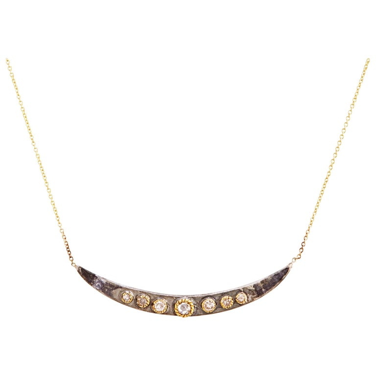 Diamonds, 14 Carat Gold, Oxidized Sterling Silver Necklace