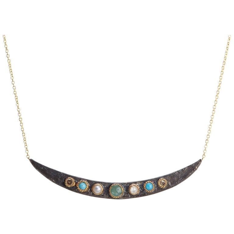 Diamonds, Emerald, Turquoises, Pearls 14K Gold Oxidized Sterling Silver Necklace For Sale
