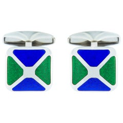 Jona Sterling Silver Blue and Green Enamel Cufflinks