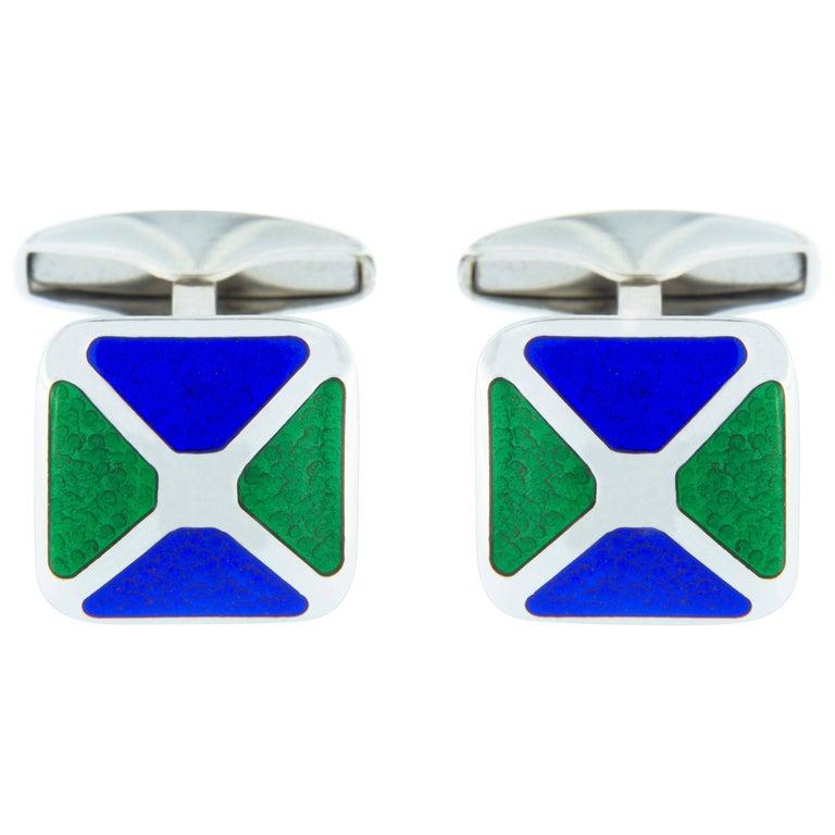 Jona Sterling Silver Blue and Green Enamel Cufflinks