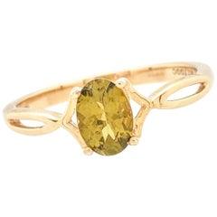 10 Karat Yellow Gold 1 Carat Peridot Ring