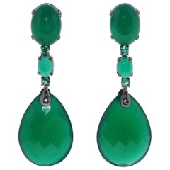 Green Agate and Emerald on Black Gold Chandelier Earrings