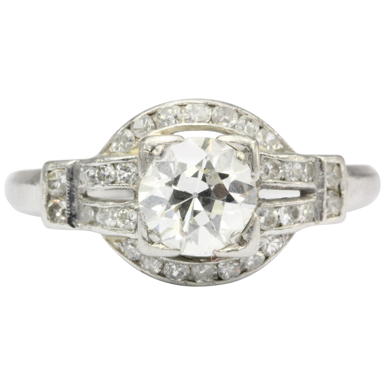 Art Deco Platinum .90 Carat Old European Cut Diamond Engagement Ring
