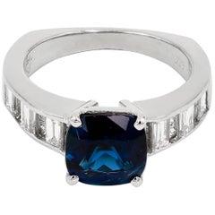 Natural Blue Tourmaline & Baguette and Princess Cut Diamond Ring
