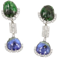 Tanzanite, Tsavorite, & Diamond Earrings With Removable Section