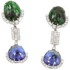 Tanzanite, Tsavorite, & Diamond Earrings With Removable Section
