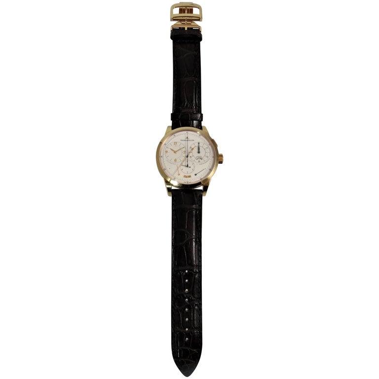 Jaeger LeCoultre Pink Gold Duometre Chronograph Manual Wristwatch