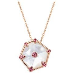 Fei Liu Mother of Pearl Pink Sapphire 18 Karat Rose Gold Hexagon Necklace