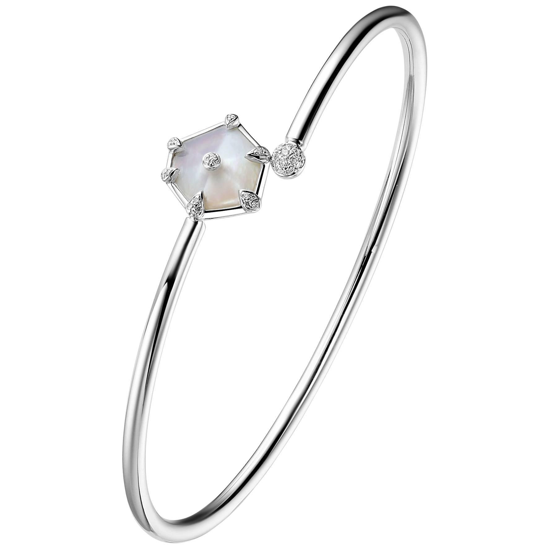 Fei Liu Mother of Pearl Diamond 18 Karat White Gold Open Bangle Bracelet