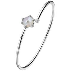 Fei Liu Mother of Pearl Diamond 18 Karat White Gold Open Bangle Bracelet
