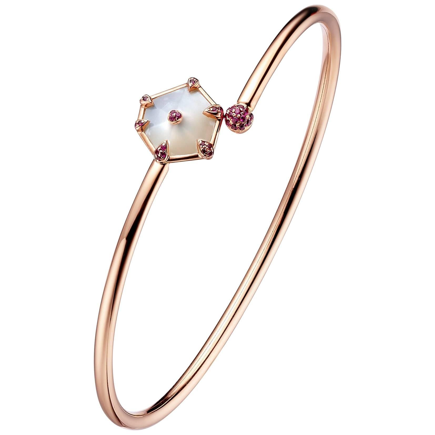 Fei Liu Mother of Pearl Pink Sapphire Bangle Bracelet