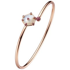 Fei Liu Hexagon Mother of Pearl, Pink Sapphire 18Karat Rose Gold Bangle Bracelet