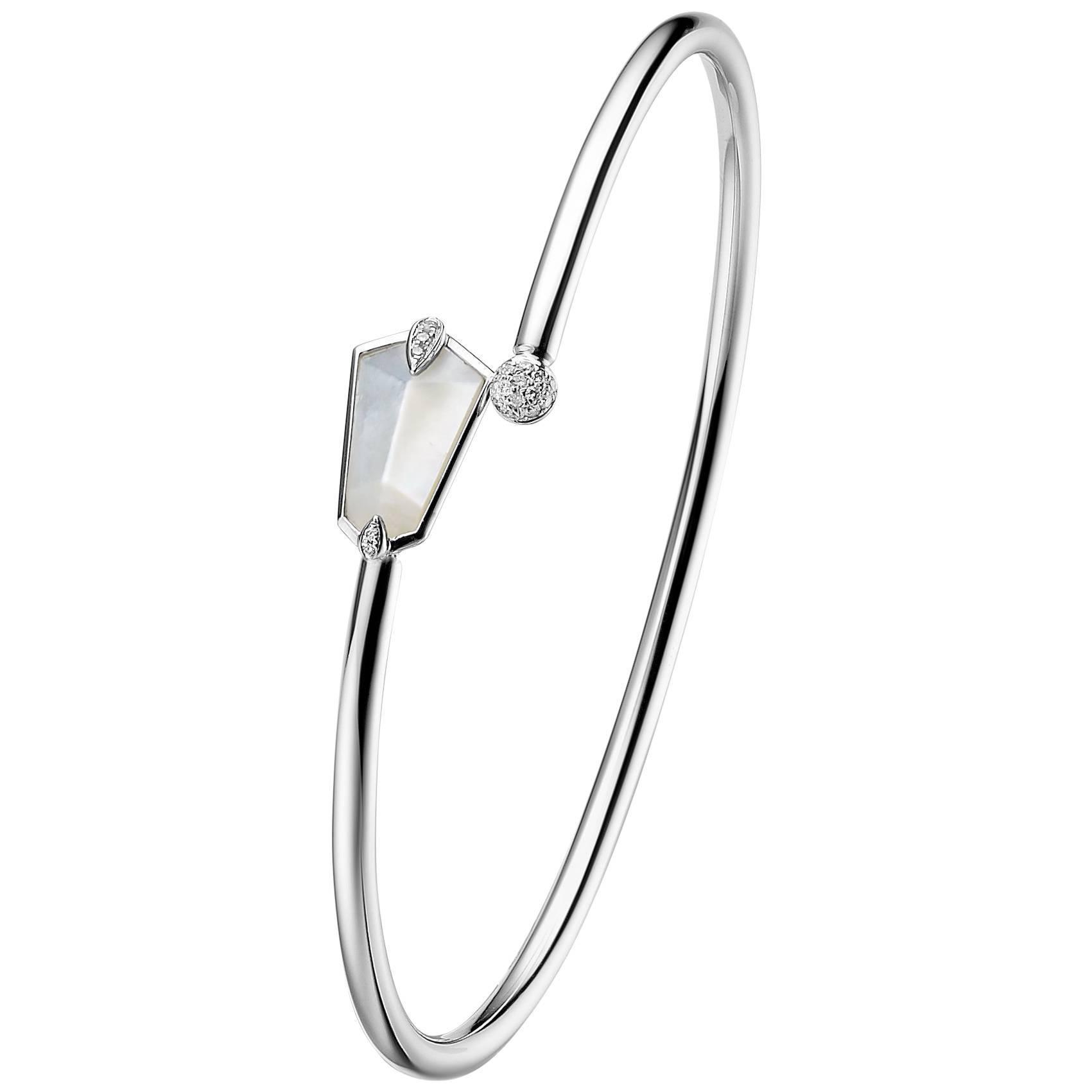 Fei Liu Mother of Pearl Diamond Bangle Bracelet