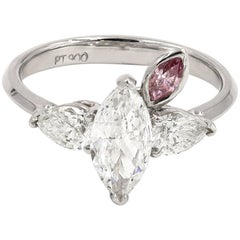 GIA Certified 1.01 Marquise Diamond Ring with Fancy Intense Purplish-Pink Dia
