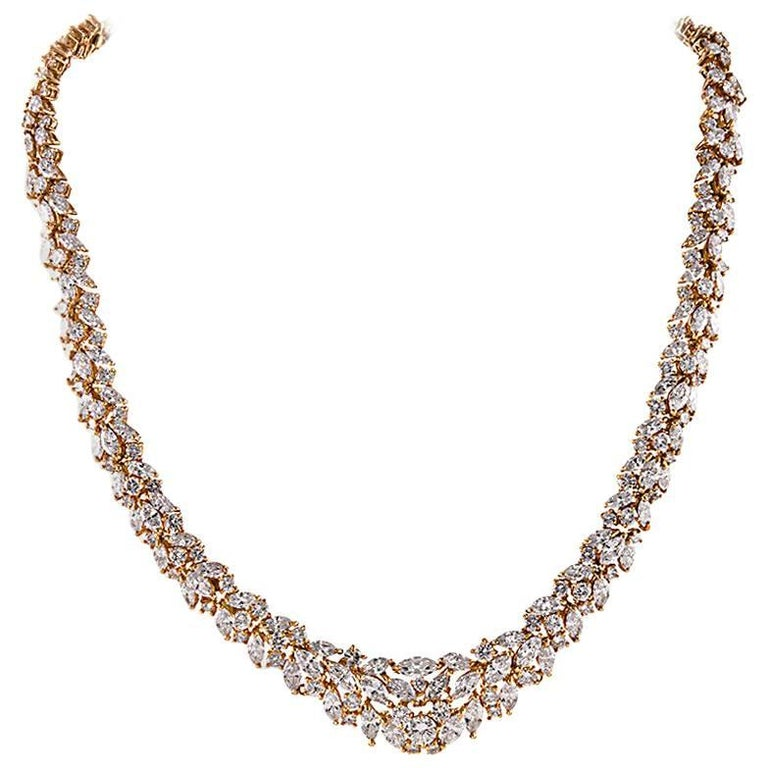 25 Carats of Diamonds Gold Cluster Necklace