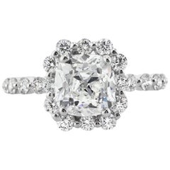 Mark Broumand 3.50 Carat Old Mine Cut Diamond Engagement Ring