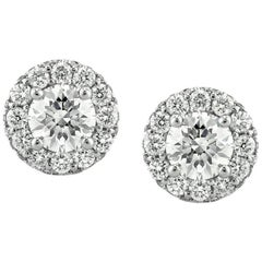 Mark Broumand 1.00 Carat Round Brilliant Cut Diamond Stud Earrings