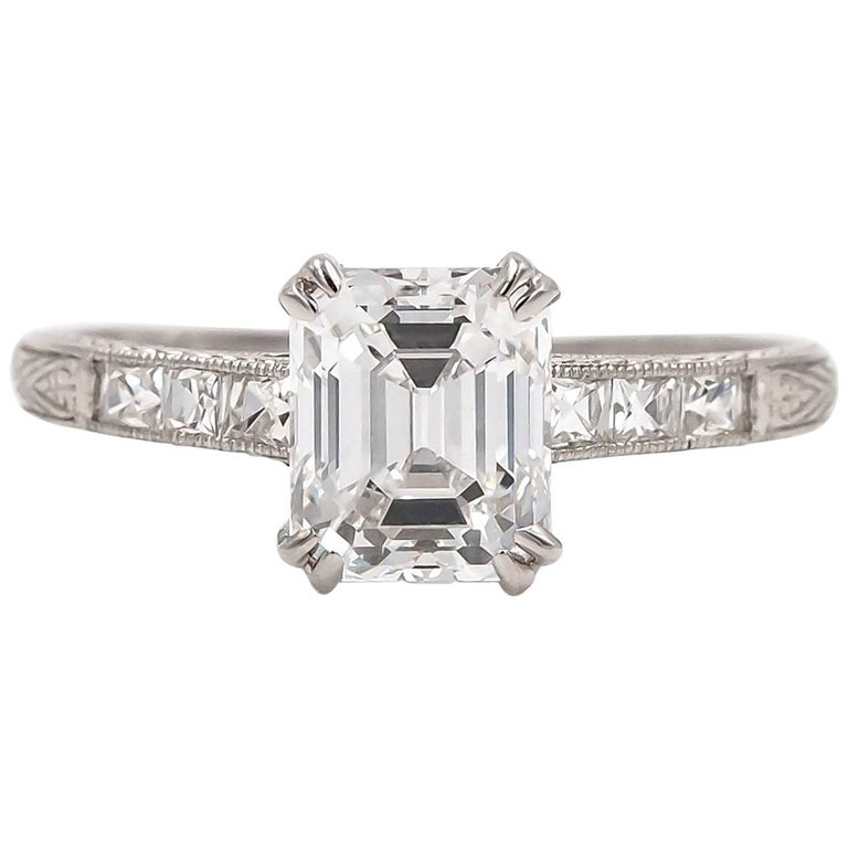 Gia D-VVS 1.41 Antique Emerald Cut & French Cut Diamond Art Deco Engagement Ring