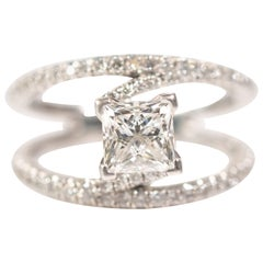 1.20 Carat Princess Cut Diamond Split-Shank Engagement Ring 14 Karat White Gold