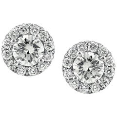 Mark Broumand 1.15 Carat Round Brilliant Cut Diamond Stud Earrings
