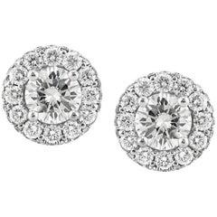 Mark Broumand 1.65 Carat Round Brilliant Cut Diamond Stud Earrings