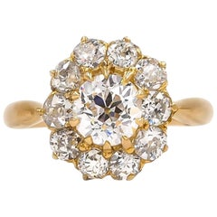 French Victorian GIA Certified 1.26 Carat Old European Cut Diamond Cluster Ring