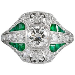 "Handmade Diamond and Emerald ""Navette"" Ring"
